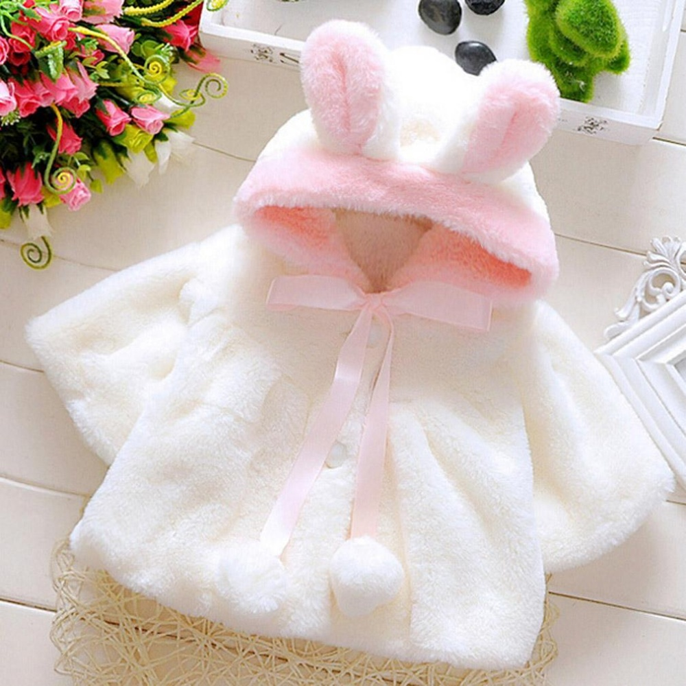 Spesifikasi Lalang Baby Girls Rabbit Ear Hat Hairball Cozy Winter Coat Warm Jacket White Intl Dan Harganya