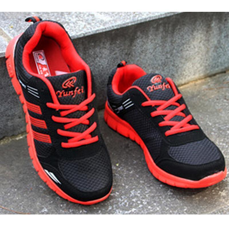 LALANG Pria Outdoor Sport Jogging Running Sepatu Sneakers Kasual Mesh Bernapas Pelatih Rendah Datar Sepatu (Merah) -Intl