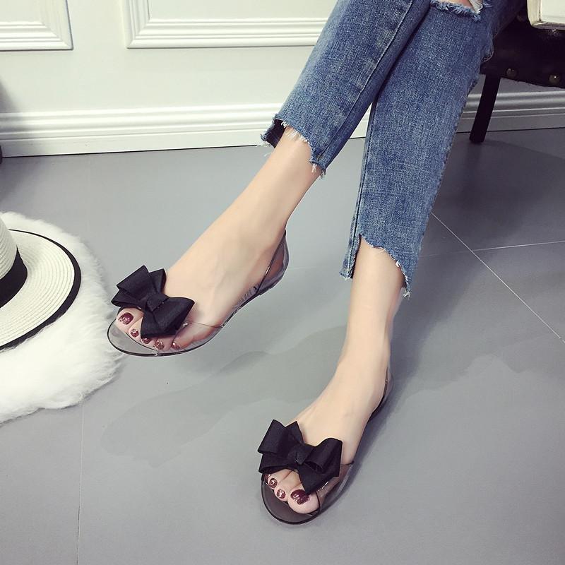 LALANG Wanita Sweet Ikatan Simpul Terbuka Toe Datar Tumit Casual Pantai Sandal Sepatu Crystal Jelly (Hitam)-Intl