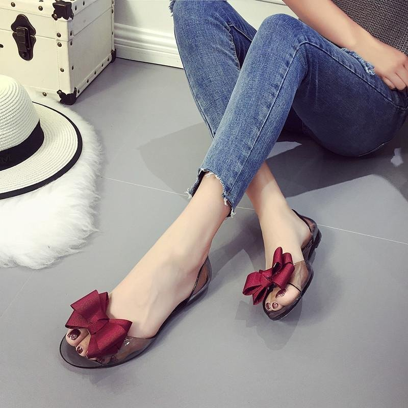 Tips Beli Lalang Wanita Sweet Ikatan Simpul Terbuka Toe Datar Tumit Casual Pantai Sandal Sepatu Crystal Jelly Merah Intl