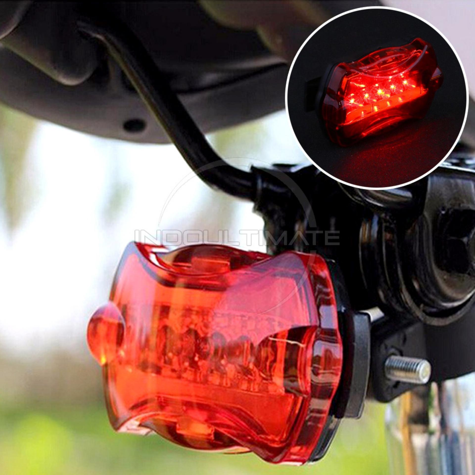 Lampu Belakang Sepeda 5 Flash LED/Senter/Lazer/Safety warning Light HL LS-01