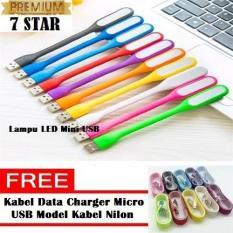 Lampu Led Mini Usb Light Powerbank Lampu Baca & Laptop Multifungsi + Free Kabel Data Dan Charger Micro Usb Model Kabel Nilon By 7star Id