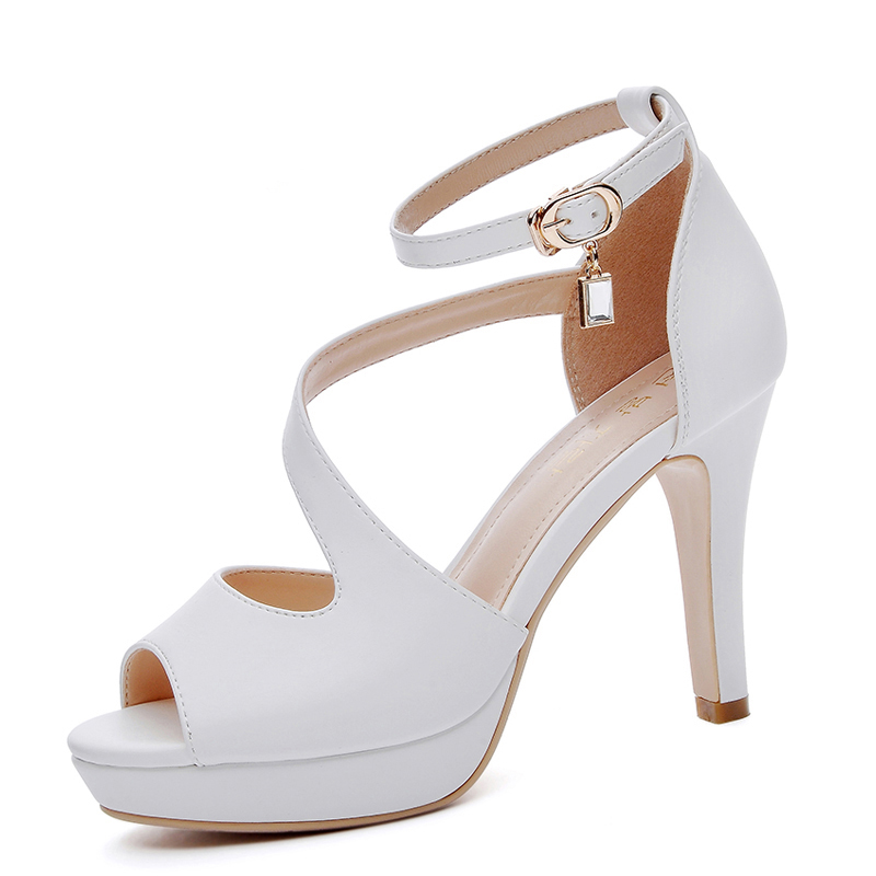Jual Langsha Korea Fashion Style Batu Kristal Air Perempuan Baru Sepatu Wanita Sepatu Heels 1273 Putih Oem Branded