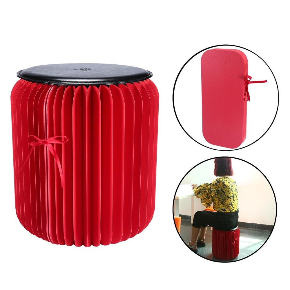 Lanyasy Fleksibel Kertas Stool, Portable Home Furniture Kertas Desain Kursi Lipat dengan 1 Pcs Leather Pad, Merah + Hitam Ukuran Besar-Intl