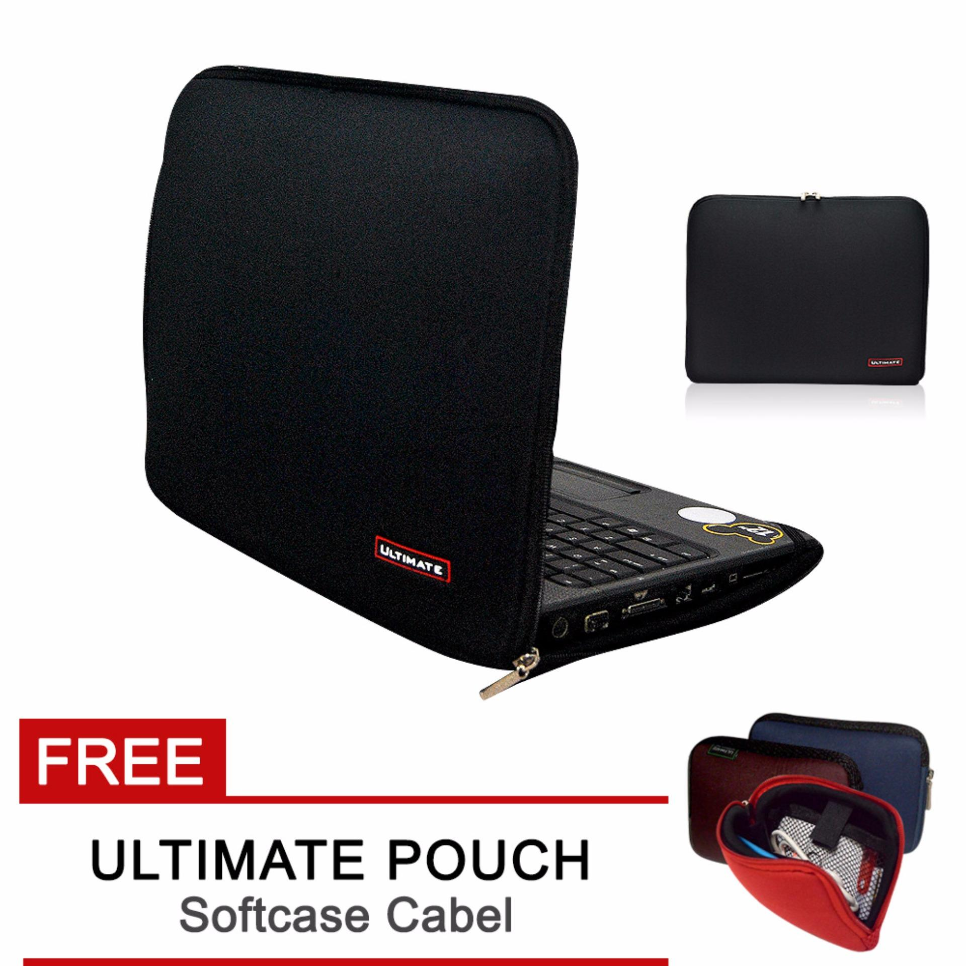 Laptop Cover / case / Bag /Softcase Classic 14 inchi Black + FREE Cable Pouch softcase