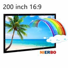 Layar Proyektor NIERBO 200 inci 14.7x8.1 ft 16: 9 Outdoor Indoor Portable Movie Theater Proyeksi layar Kanvas Layar lebar Dinding terpasang Dilipat