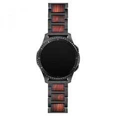 LDFAS Gear S3 Band 22mm Kayu Alami Cendana Merah Hitam Stainless Steel Metal Link Gelang untuk Samsung Gear S3 Frontier/Classic Smart Watch-Intl