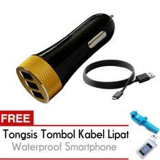 Ldnio Car Fast Charger Mobil 3 Port 5.1 A DL-C50 USB - Free Trend's Tongsis Monopod Tombol Kabel Lipat +  Waterproof Smartphone