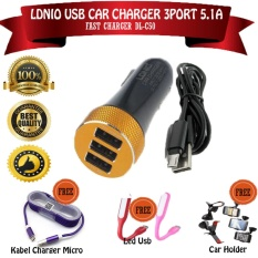Obral Ldnio Car Fast Charger Mobil 3 Port 5 1A Dl C50 Usb Hitam Bonus Car Holder Xt 028 Kabel Charger Micro Led Usb Murah