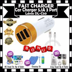 Ldnio USB Car Charger 3Port 5.1 A Fast Charger DL-C50 Kabel Micro Usb - White GRATIS Holder OK STand For HP + Cleaning Kit Pembersih LCD PC Laptop & Iring Stand