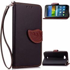 Pola Daun PU Dompet Kulit Flip Stand Cover untuk Huawei Honor Bee Y5C Y541 (Hitam)-Intl