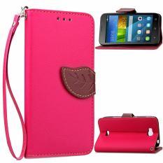 Pola Daun PU Dompet Kulit Flip Stand Cover untuk Huawei Honor Bee Y5C Y541 (Pink)-Intl