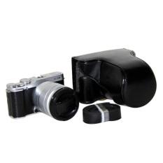 Leather Camera Case Cover Bag Camera Sling Strap untuk FujifilmFujiFinepix XM1 X A1 XA2 16-50mm Lensa Digital Tas Kamera (Hitam) -Intl