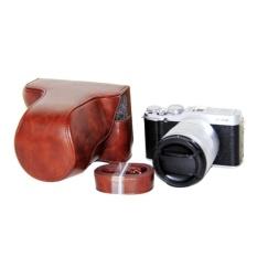 Leather Camera Case Cover Bag Camera Sling Strap untuk FujifilmFujiFinepix XM1 X A1 XA2 16-50mm Lensa Digital Tas Kamera (Kopi) -Intl