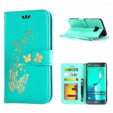 Kulit Case Cover untuk Samsung Galaxy S6 Edge Plus Bronzing Butterfly Flip Wallet Stand dengan Bingkai Foto Aqua-Intl