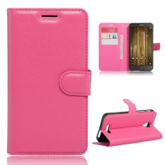 Penutup Dudukan Flip Case Kulit untuk Alcatel Fierce 4 (Hot Pink)-Intl