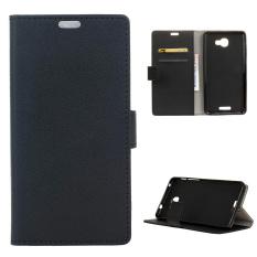 Dompet kulit untuk menutupi kasus SANDAL stan Alcatel flash ditambah 2 (Hitam)