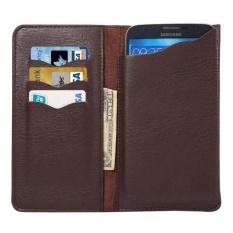 Leather Cover Case dengan Dompet dan Slot Kartu untuk IPhone 6 S Plus/Samsung Galaxy S6 EDGE +/ Catatan 5/Mega 6.3 (Brown) -Intl