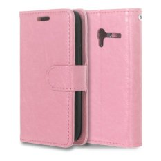 Leather Flip Cover Case for Alcatel One Touch Pixi 3 OT4009E 3.5 inch (Pink) - intl