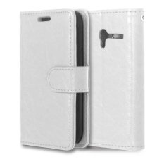 Leather Flip Cover Case for Alcatel One Touch Pixi 3 OT4009E 3.5 inch (White) - intl