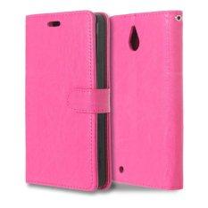 Leather Flip Cover Case untuk Microsoft Lumia 850 (Hot Pink)-Intl