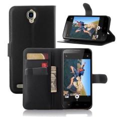 Kulit Lipat Penutup Ponsel Case Dompet Kartu Penahan untuk Alcatel Flash Plus/OT7054T-Internasional