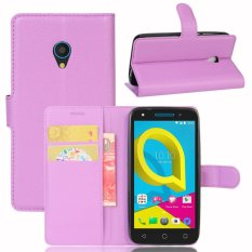 Kulit Flip Penutup Ponsel Case Dompet Card Holder untuk Alcatel U5 (Ungu)-Intl