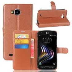 Leather Flip Cover Casing Ponsel Dompet Tempat Kartu untuk Lg X Venture (Brown)-Intl