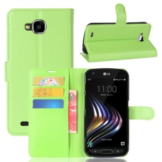 Leather Flip Cover Phone Case Wallet Card Holder For LG X Venture (Green) - intl