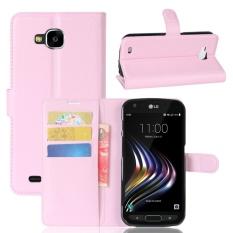 Kulit Flip Penutup Ponsel Case Dompet Card Holder untuk LG X Venture (Pink)-Intl