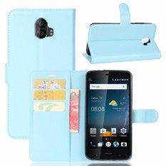 Leather Flip Cover Phone Case Wallet Card Holder For ZTE Blade V8 Pro (Blue) - intl