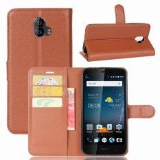 Leather Flip Cover Phone Case Wallet Card Holder For ZTE Blade V8 Pro (Brown) - intl