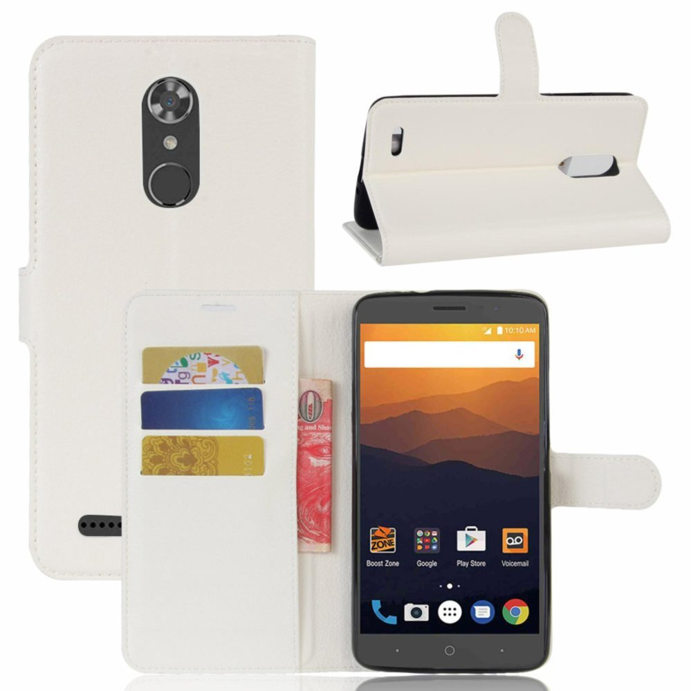 Leather Flip Cover Phone Case Wallet Card Holder For ZTE Max XL / N9560 (White) - intl