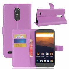 Kulit Flip Penutup Ponsel Case Dompet Card Holder untuk ZTE Max XL/N9560 (Ungu)-Intl