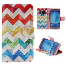 Leather Flip Stand Case Wallet Cover for Samsung Galaxy A8(2015) - Colorful Wave - intl