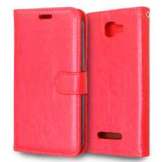 Leather Flip Stand Cover untuk Alcatel One Touch Fierce 2 7040 T (Merah)