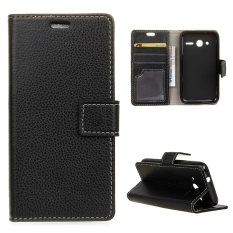 Leather Litchi Grain Standing Flip Cover Case for Alcatel OneTouch Pixi 4 4.0 inch - Black - intl