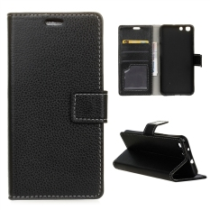 Leather Litchi Grain Standing Flip Cover Case for Alcatel OneTouch X1 7053D - Black - intl