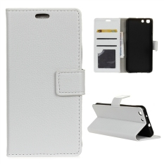 Leather Litchi Grain Standing Flip Cover Case for Alcatel OneTouch X1 7053D - White - intl
