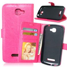 Dompet Kulit Flip dengan Pemegang Kartu Kredit untuk Alcatel One Touch Fierce 2 7040 T (Pink)