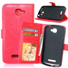Dompet Kulit Flip dengan Pemegang Kartu Kredit untuk Alcatel One Touch Fierce 2 7040 T (Merah)