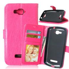 Dompet Kulit Flip dengan Pemegang Kartu Kredit untuk Alcatel Satu Sentuhan Pop C7 OT-7040/7041D (Merah Muda)