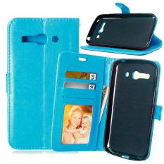 Dompet Kulit Flip dengan Pemegang Kartu Kredit untuk Alcatel One Touch POP C9 OT 7047 7047D (biru)
