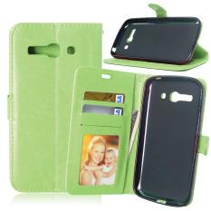 Dompet Kulit Flip dengan Pemegang Kartu Kredit untuk Alcatel One Touch POP C9 OT 7047 7047D (hijau)