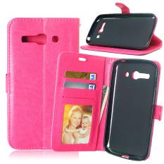 Dompet Kulit Flip dengan Pemegang Kartu Kredit untuk Alcatel One Touch POP C9 OT 7047 7047D (pink)