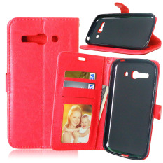 Dompet Kulit Flip dengan Pemegang Kartu Kredit untuk Alcatel One Touch POP C9 OT 7047 7047D (merah)