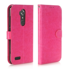 Dompet Kulit Case Magnetic Flip Stand Cover untuk ZTE Max XL N9560 (Hot Pink)-Intl