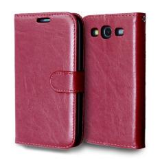 Kulit dengan Pemegang Kartu Kredit untuk Samsung Galaxy S3 I9300 (Merah)