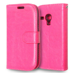 Kulit dengan Pemegang Kartu Kredit untuk Samsung Galaxy S3 Mini (Pink)
