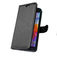 Dompet Kulit Flip Penutup With Kartu Kredit Pemegang ID untuk Samsung Galaxy S5 I9600 (Hitam)